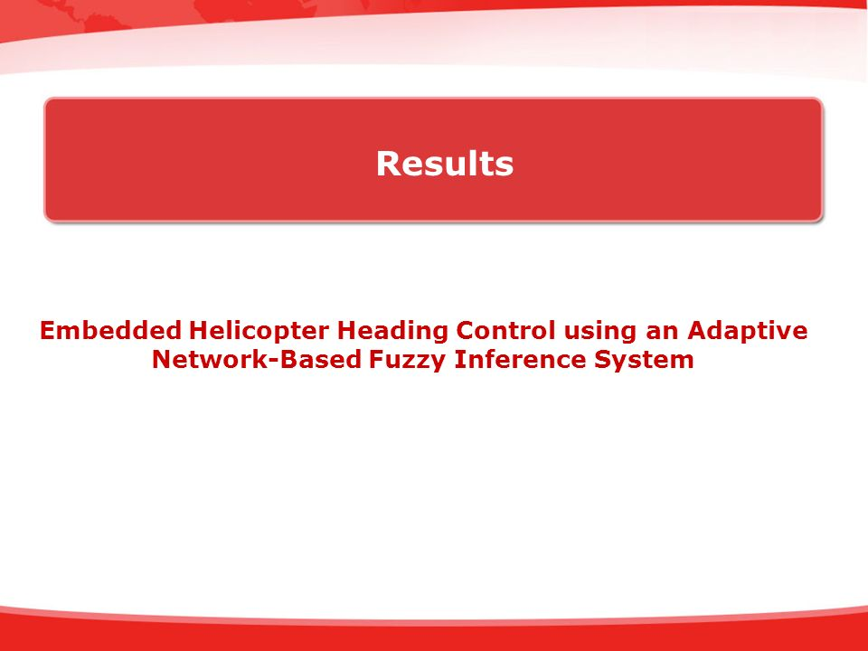Results Embedded Helicopter Heading Control using an Adaptive Network-Based Fuzzy Inference System