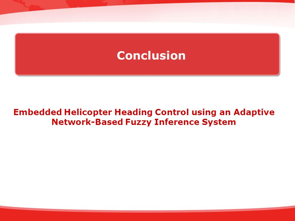 Conclusion Embedded Helicopter Heading Control using an Adaptive Network-Based Fuzzy Inference System.