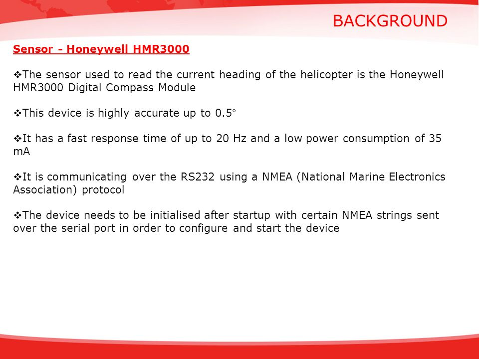 BACKGROUND Sensor - Honeywell HMR3000