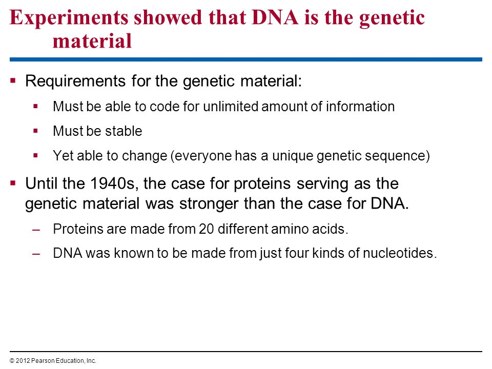 Experiments showed that DNA is the genetic material