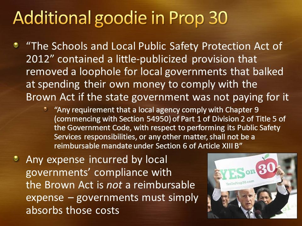 Additional goodie in Prop 30