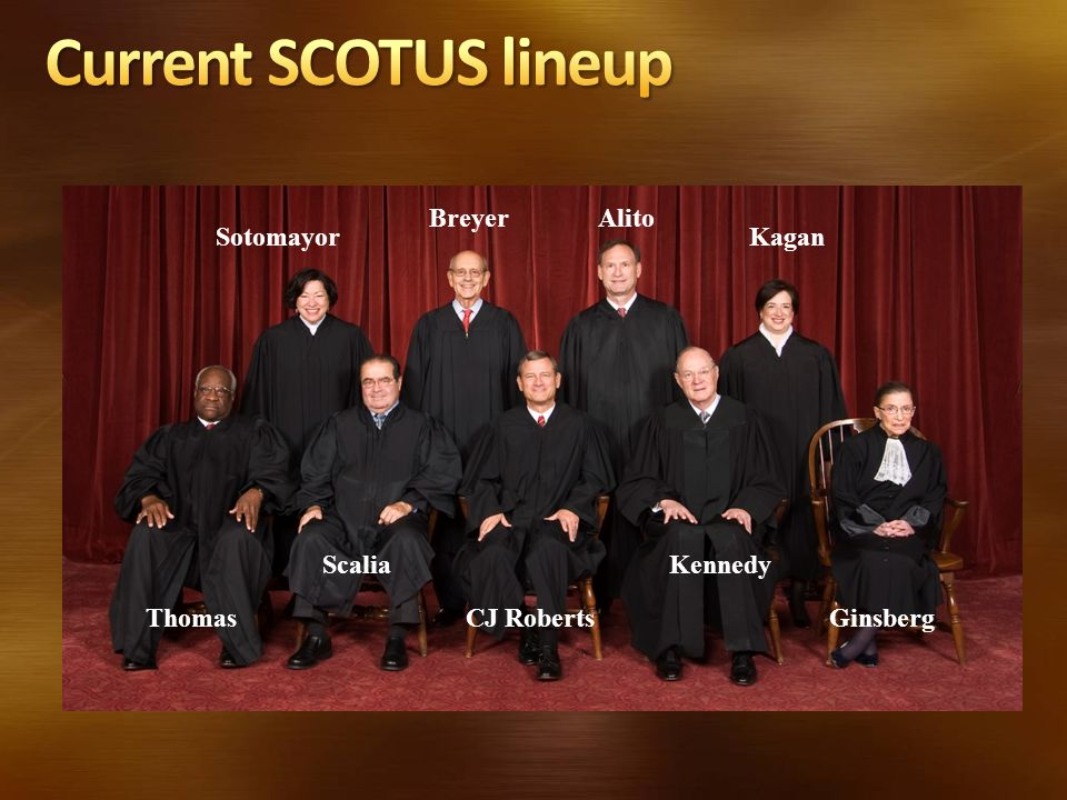 Current SCOTUS lineup Breyer Alito Sotomayor Kagan Scalia Kennedy