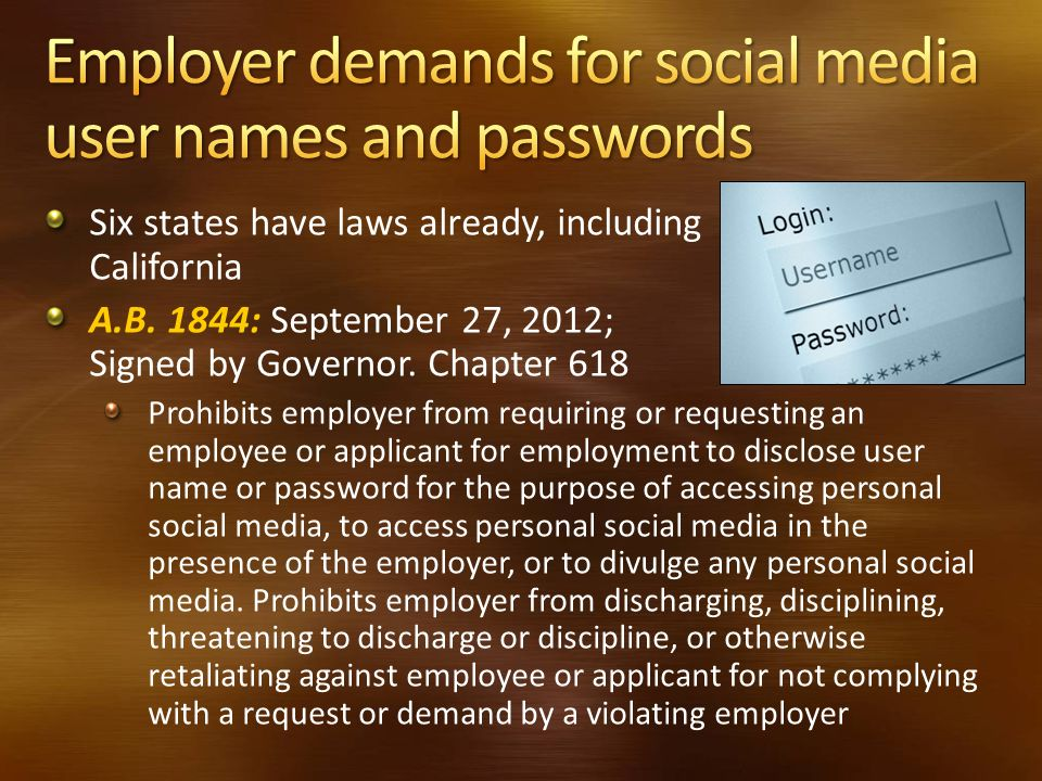 Employer demands for social media user names and passwords