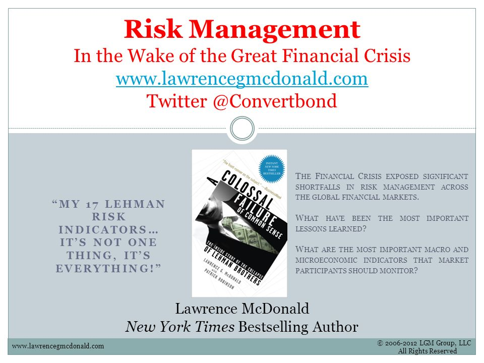 MY 17 LEHMAN RISK INDICATORS… IT'S NOT ONE THING, IT'S EVERYTHING!
