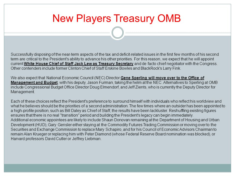 New Players Treasury OMB