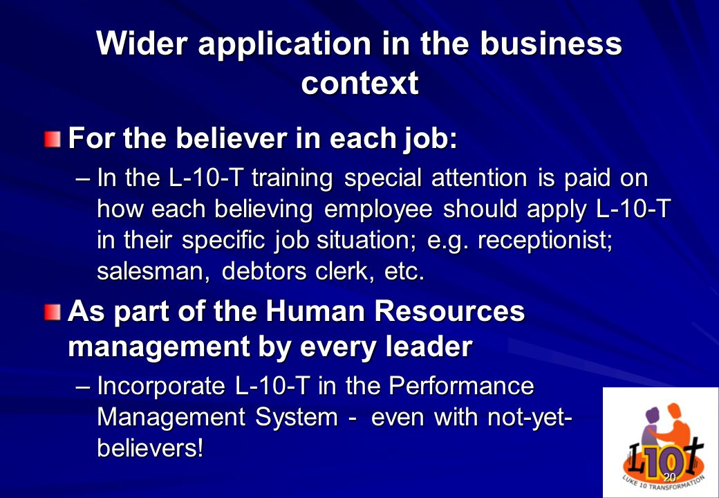 Wider application in the business context