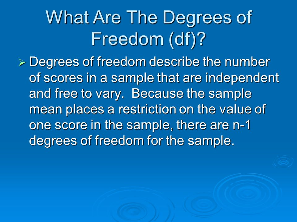 What Are The Degrees of Freedom (df)