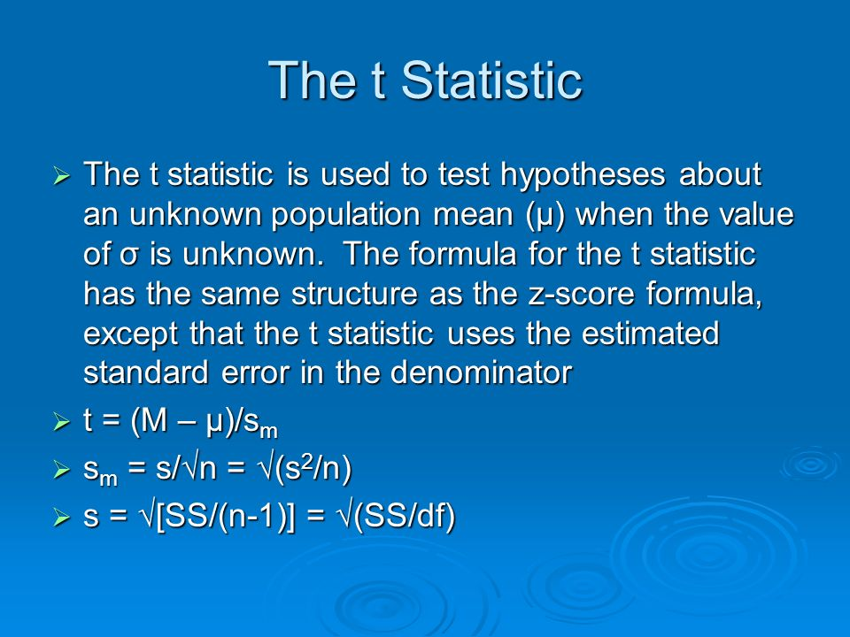 The t Statistic