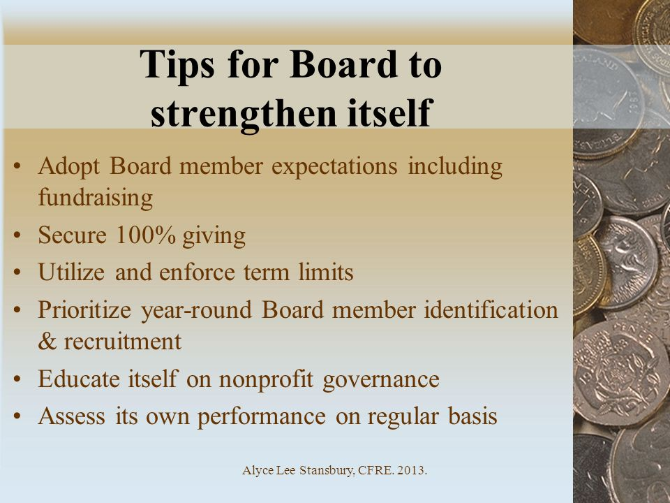 Tips for Board to strengthen itself