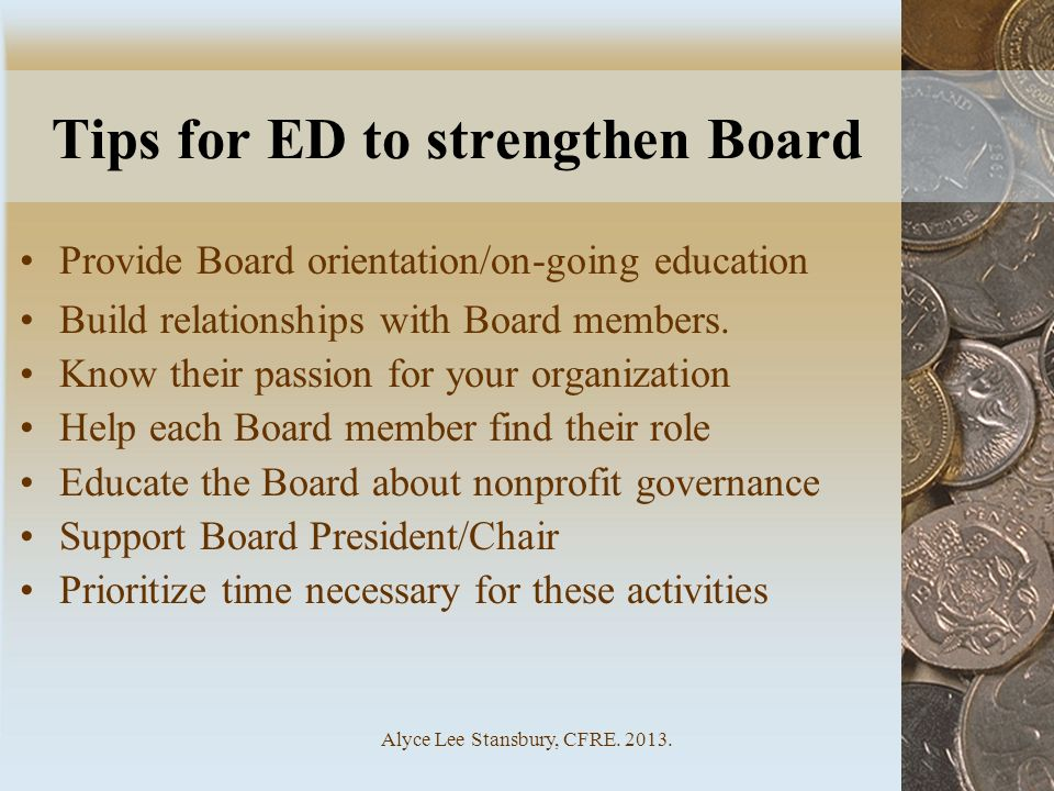 Tips for ED to strengthen Board