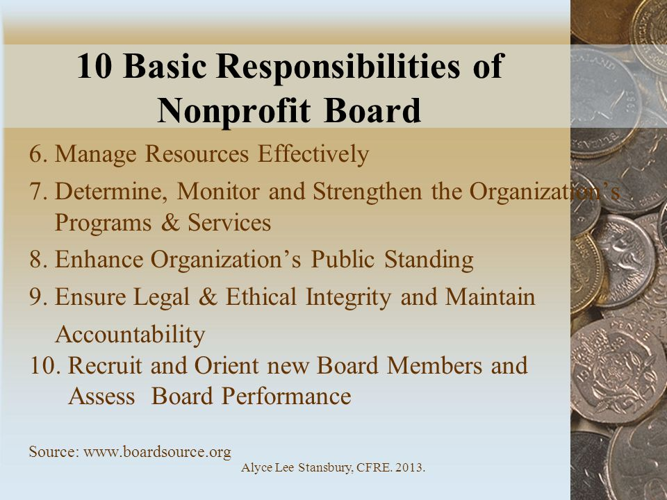10 Basic Responsibilities of Nonprofit Board
