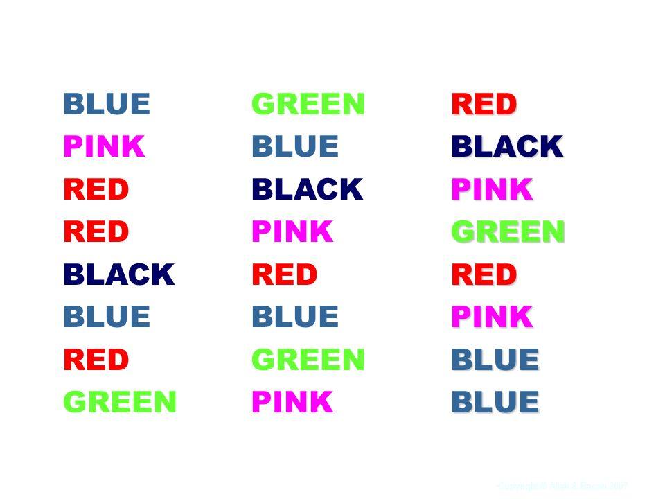 BLUE PINK RED BLACK GREEN GREEN BLUE BLACK PINK RED RED BLACK PINK GREEN BLUE