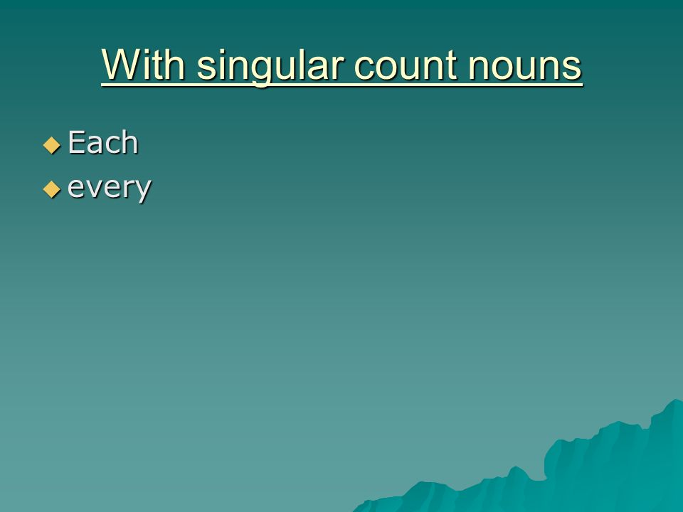 With singular count nouns