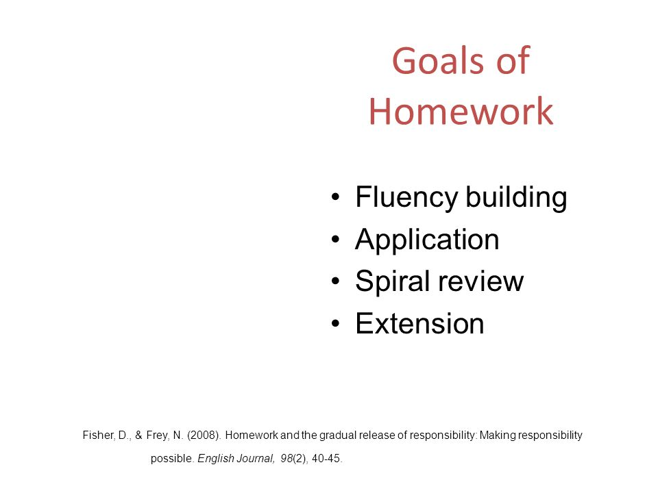 Goals of Homework Fluency building Application Spiral review Extension