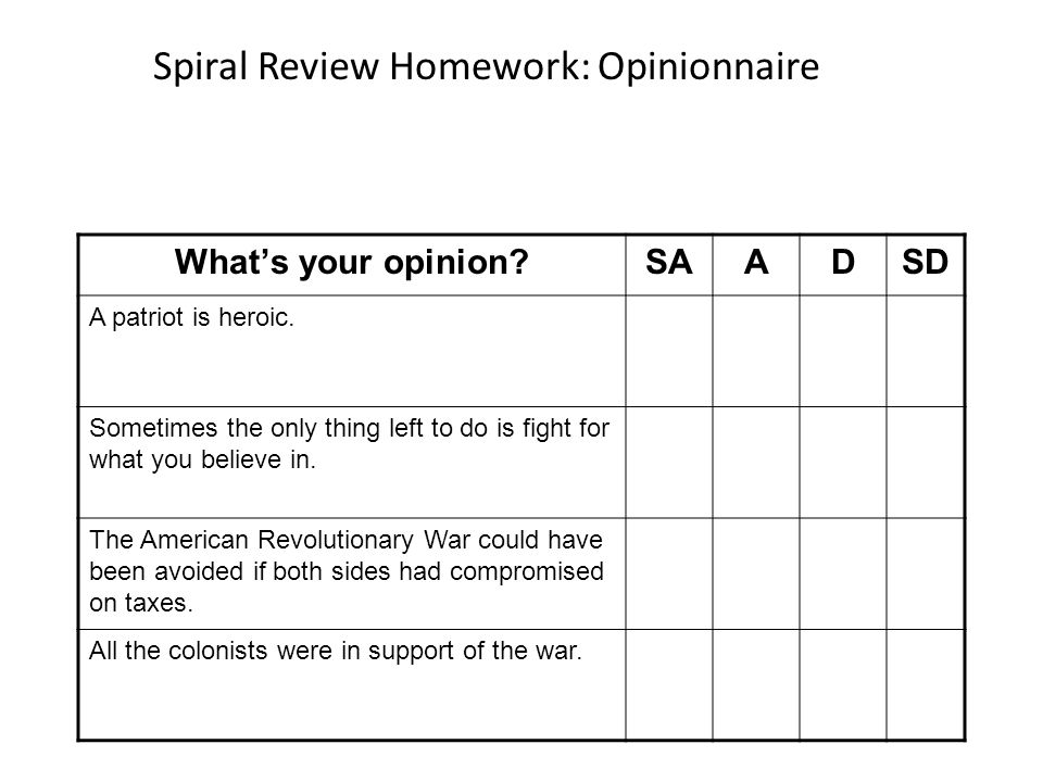 Spiral Review Homework: Opinionnaire