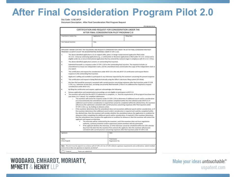 After Final Consideration Program Pilot 2.0