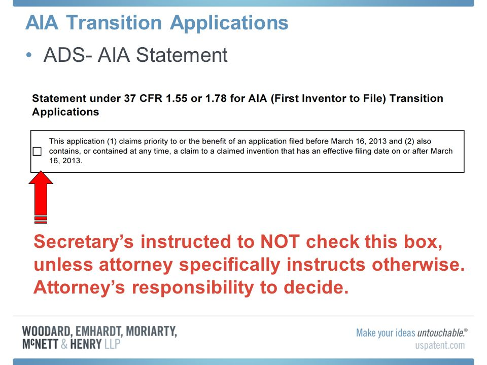 AIA Transition Applications
