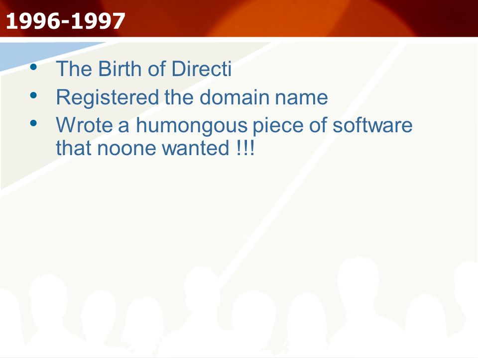 1996-1997 The Birth of Directi Registered the domain name