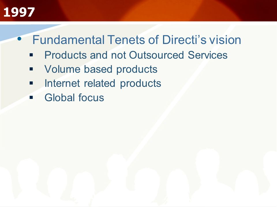 1997 Fundamental Tenets of Directi's vision