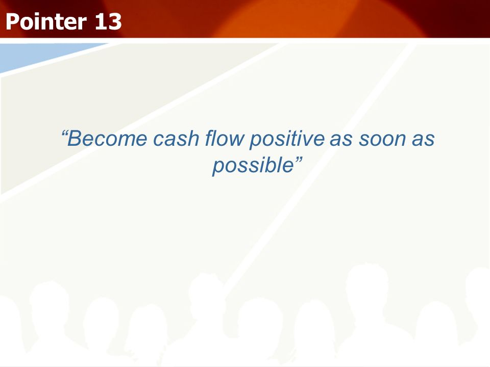Become cash flow positive as soon as possible