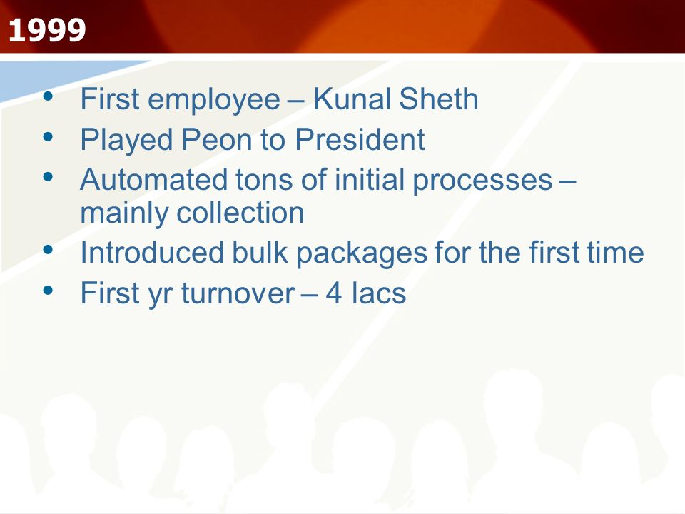 1999 First employee – Kunal Sheth Played Peon to President