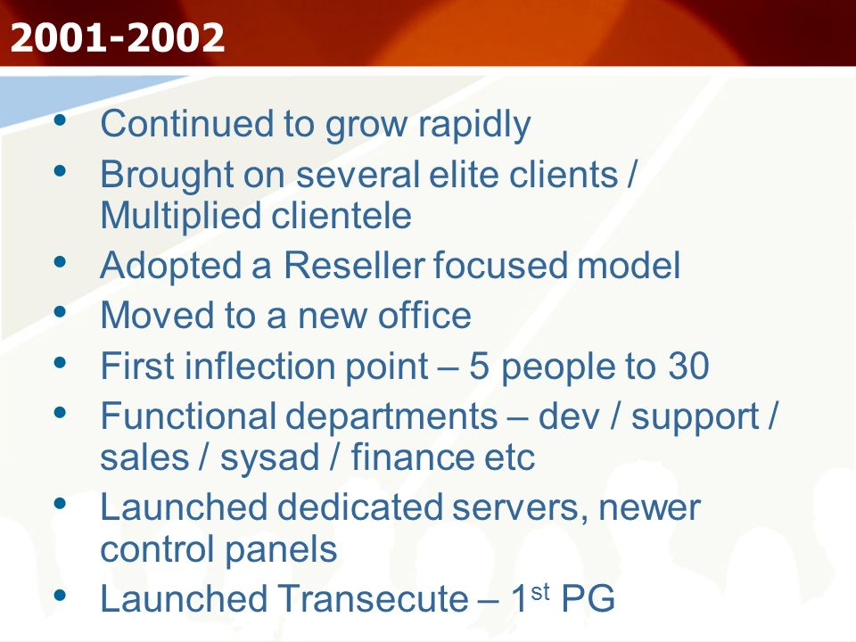 2001-2002 Continued to grow rapidly