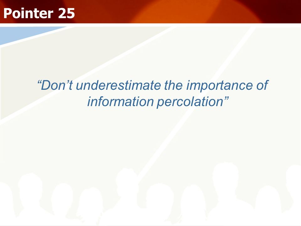 Don't underestimate the importance of information percolation