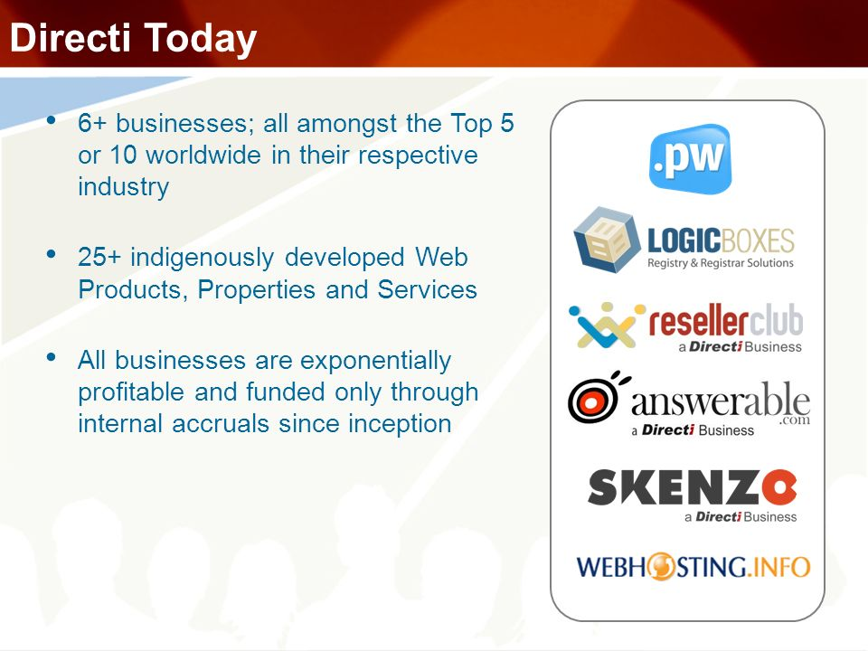 Directi Today 6+ businesses; all amongst the Top 5 or 10 worldwide in their respective industry.