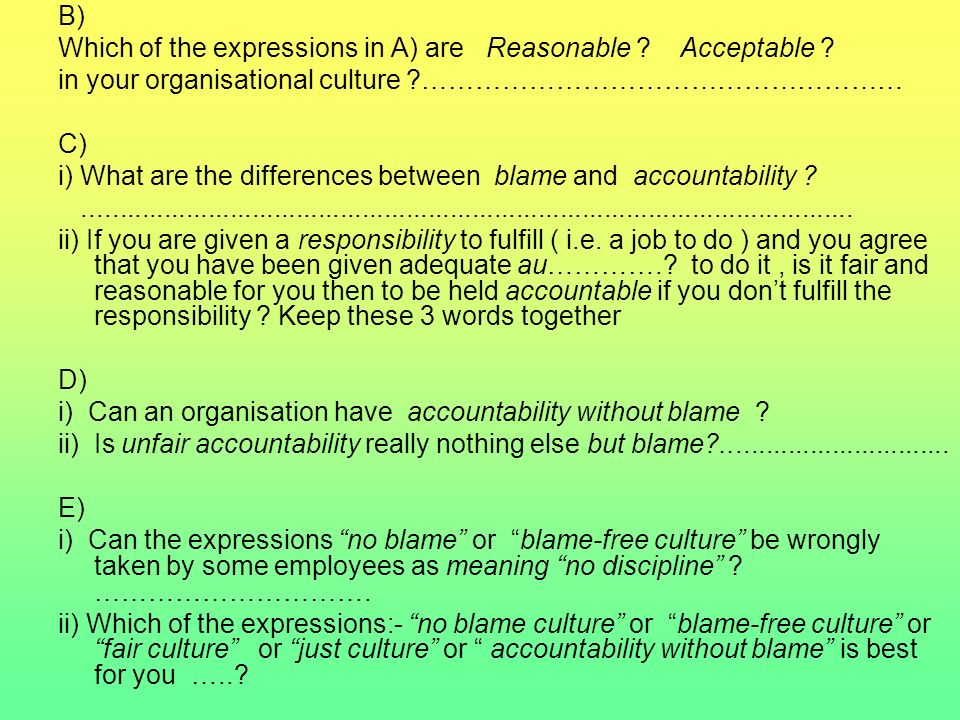 B) Which of the expressions in A) are Reasonable Acceptable in your organisational culture ………………………………………………