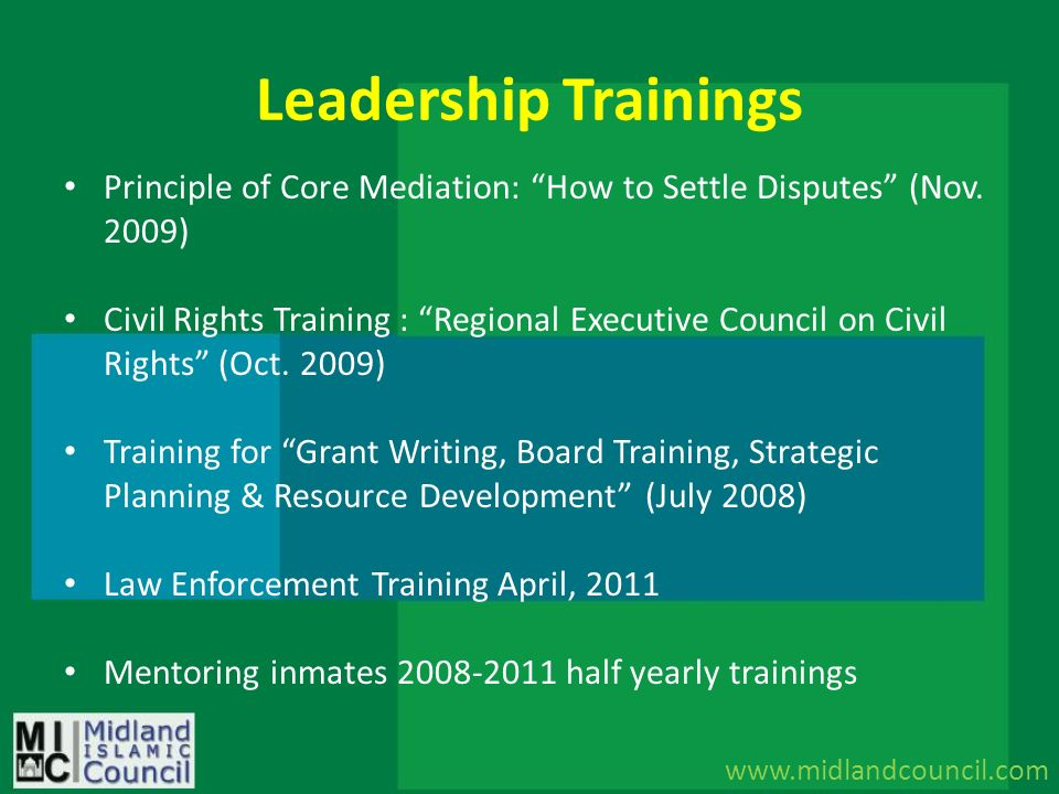 Leadership Trainings Principle of Core Mediation: How to Settle Disputes (Nov. 2009)