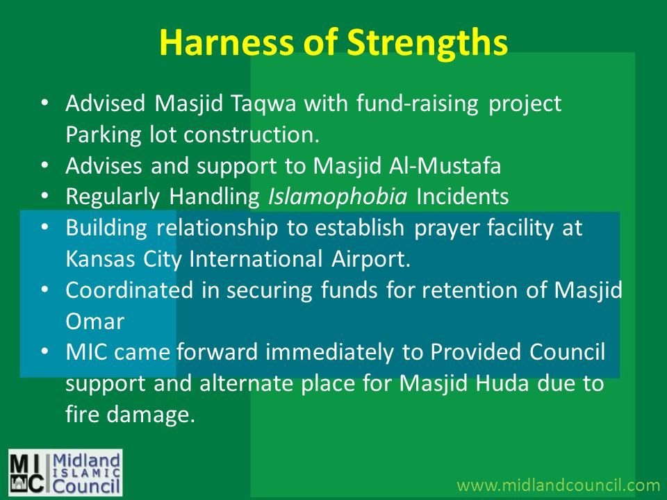 Harness of Strengths Advised Masjid Taqwa with fund-raising project Parking lot construction. Advises and support to Masjid Al-Mustafa.