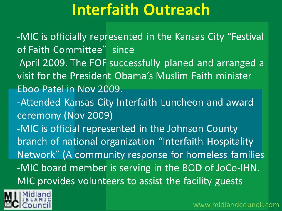 Interfaith Outreach MIC is officially represented in the Kansas City Festival of Faith Committee since.