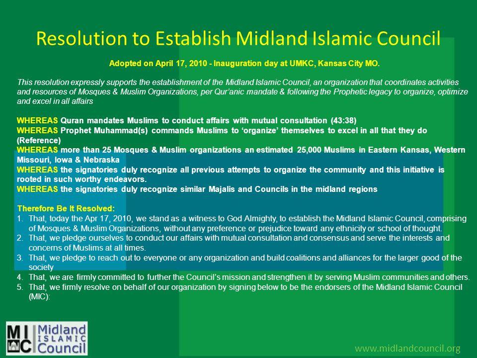 Resolution to Establish Midland Islamic Council