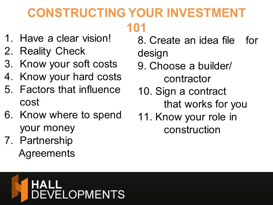 CONSTRUCTING YOUR INVESTMENT 101