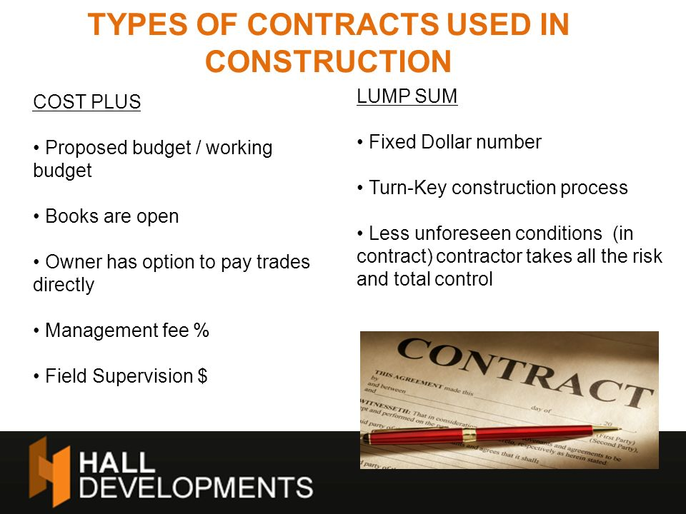 TYPES OF CONTRACTS USED IN CONSTRUCTION