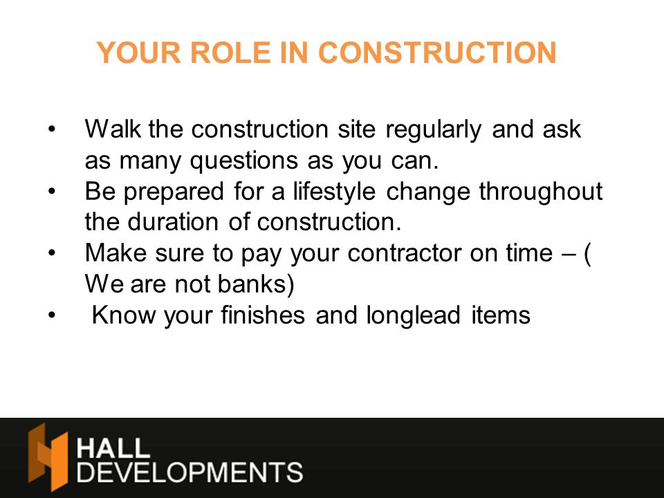 YOUR ROLE IN CONSTRUCTION