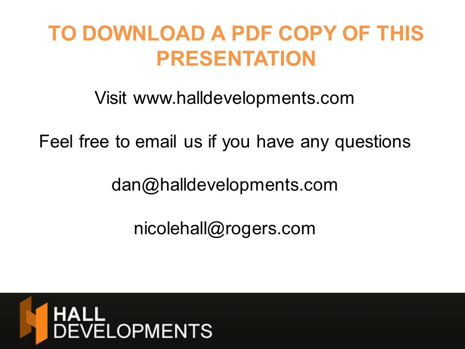 TO DOWNLOAD A PDF COPY OF THIS PRESENTATION