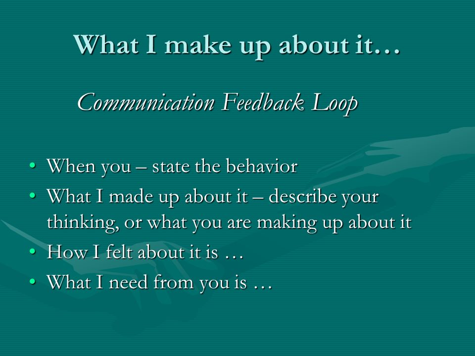 What I make up about it… Communication Feedback Loop