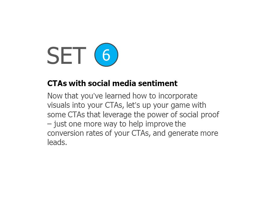 SET 6 CTAs with social media sentiment