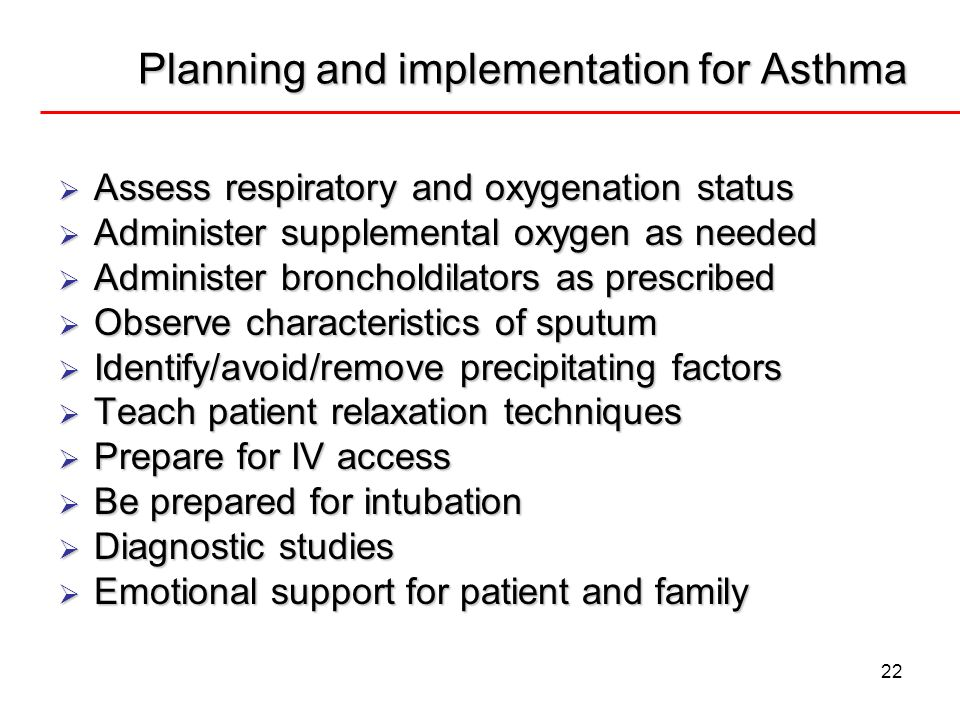 Planning and implementation for Asthma