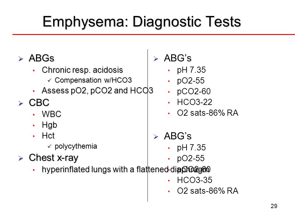 Emphysema: Diagnostic Tests