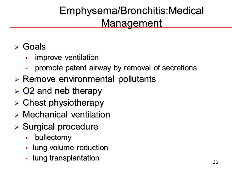Emphysema/Bronchitis:Medical Management