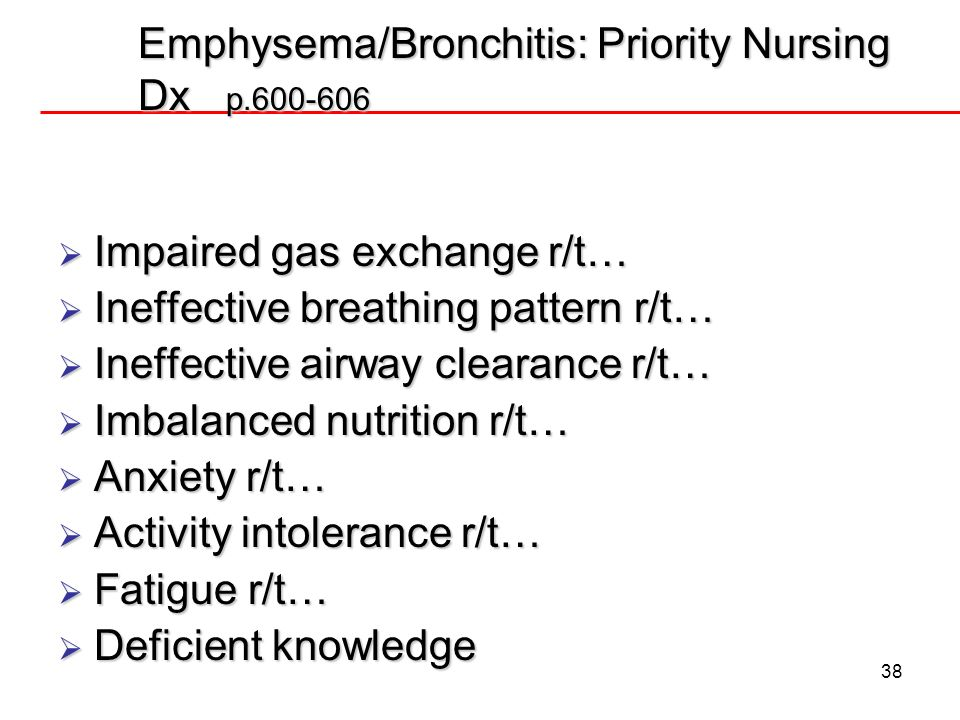 Emphysema/Bronchitis: Priority Nursing Dx p.600-606