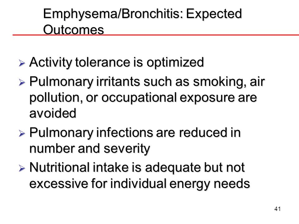 Emphysema/Bronchitis: Expected Outcomes