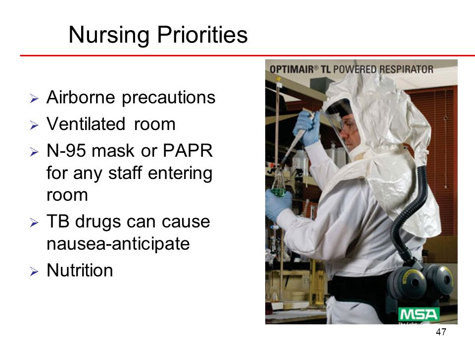 Nursing Priorities Airborne precautions Ventilated room