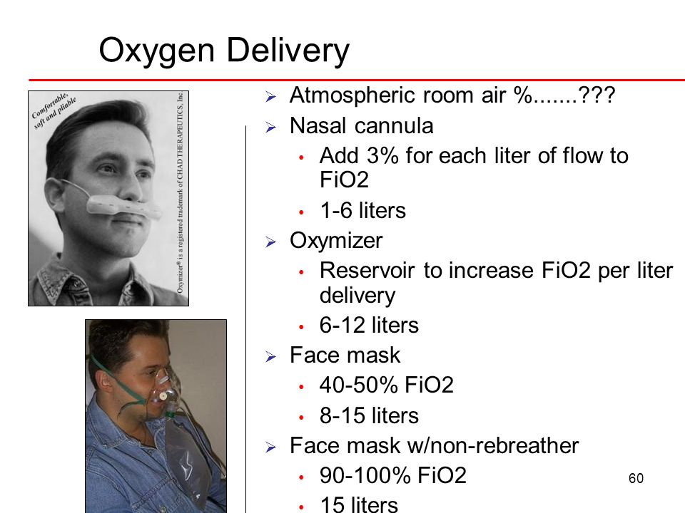 Oxygen Delivery Atmospheric room air %....... Nasal cannula