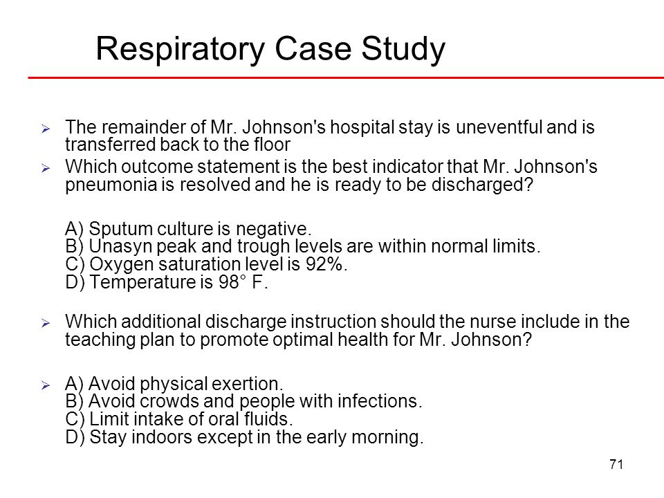 respiratory case study [column]learning outcomes level 1 case study: you will be able to: describe the risk factors describe the disease describe the pharmacology of the drug.