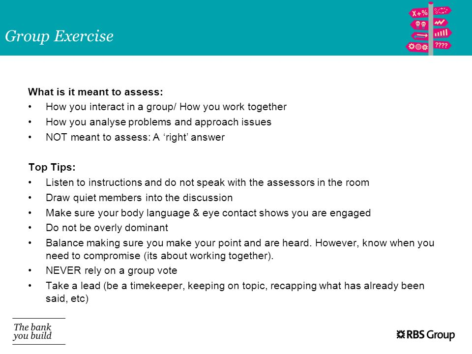 Group Exercise What is it meant to assess: