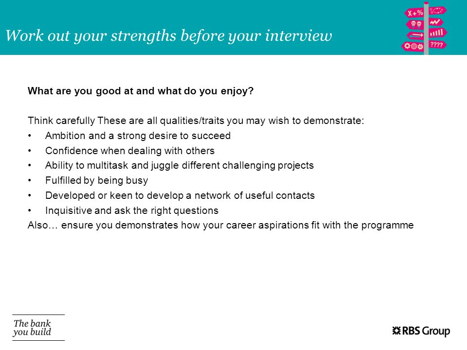 Work out your strengths before your interview