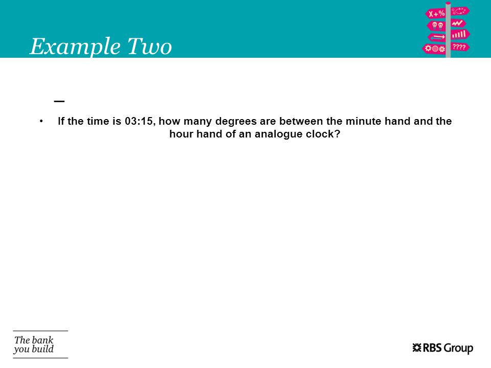 Example Two If the time is 03:15, how many degrees are between the minute hand and the hour hand of an analogue clock